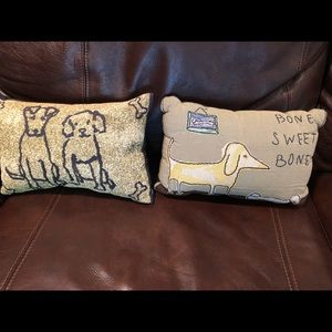 Two decor pillows, for dog lovers
